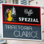 Hinweisschild Trattoria Clarice wheof