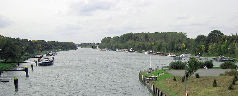 Schleusenvorhafen in Dorsten am Wesel-Datteln-Kanal.