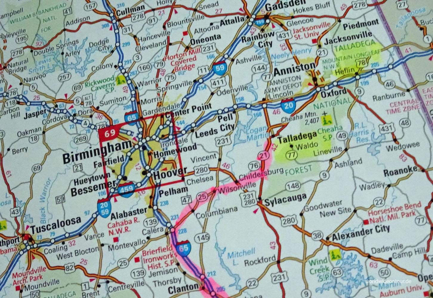 Das Ziel der Reise. Quelle: Road Atlas United States, Canada, Mexiko von VistaPoint.